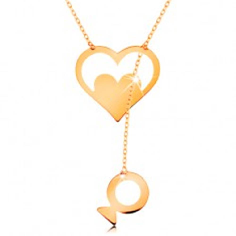 Šperky eshop Náhrdelník zo žltého 14K zlata - kontúra srdca so srdiečkom a visiacou rybkou