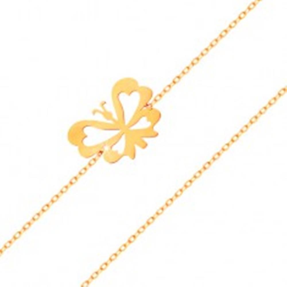 Šperky eshop Náramok v žltom 14K zlate - jemná retiazka, plochý motýlik s vyrezávanými krídlami