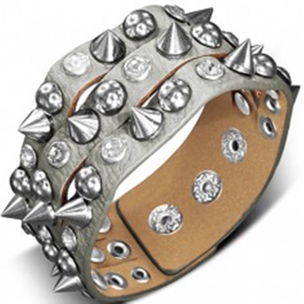 Šperky eshop Náramok vyrobený z kože - s kovovým špicom, pologuľou a kameňom