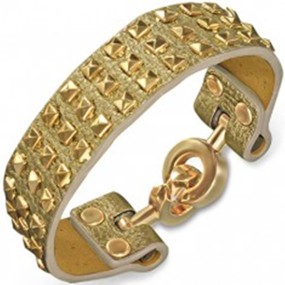 Šperky eshop Náramok z kože zlatej farby - s pyramídami a kruhovým zapínaním