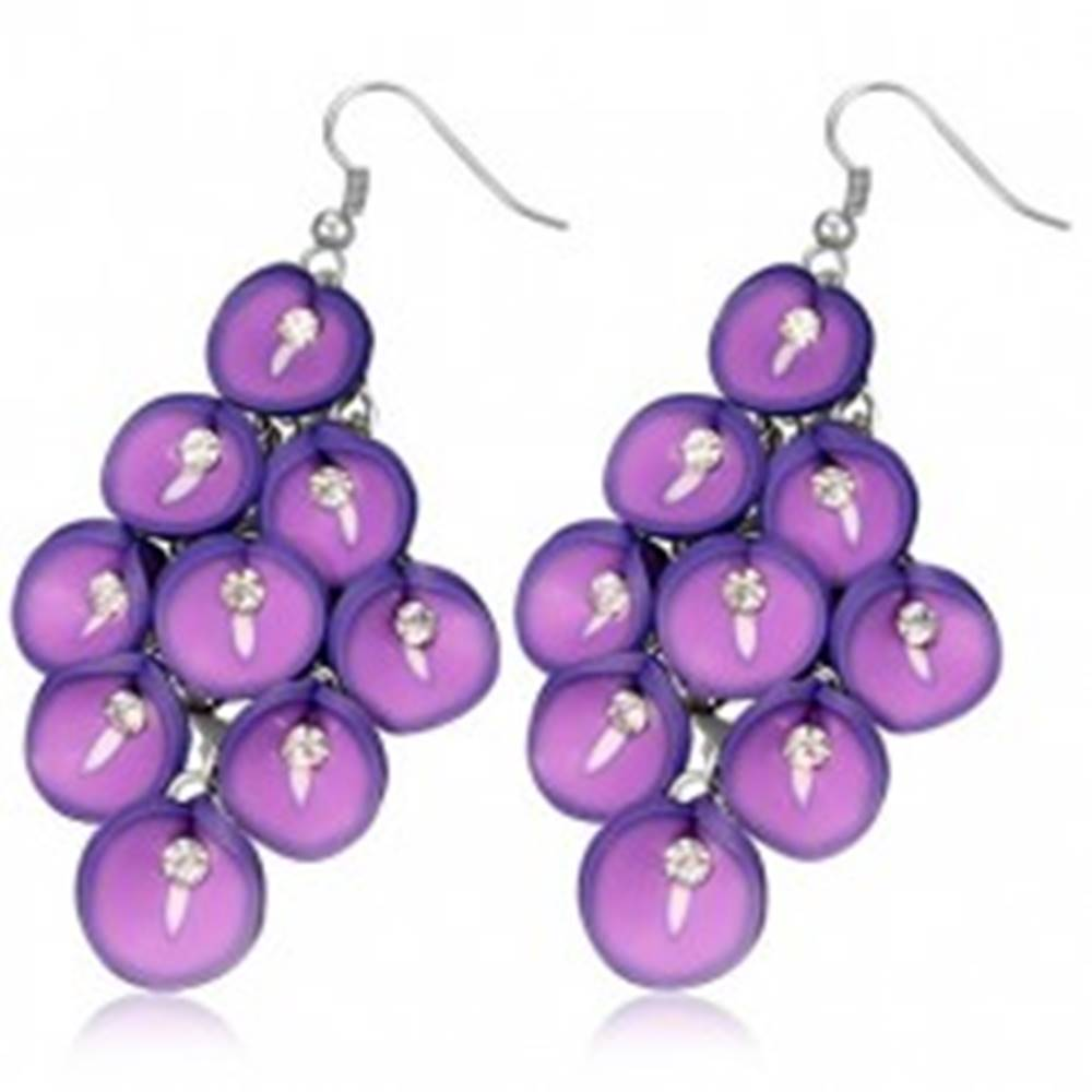 Šperky eshop Náušnice fimo - strapec fialových Antúrií so zirkónom