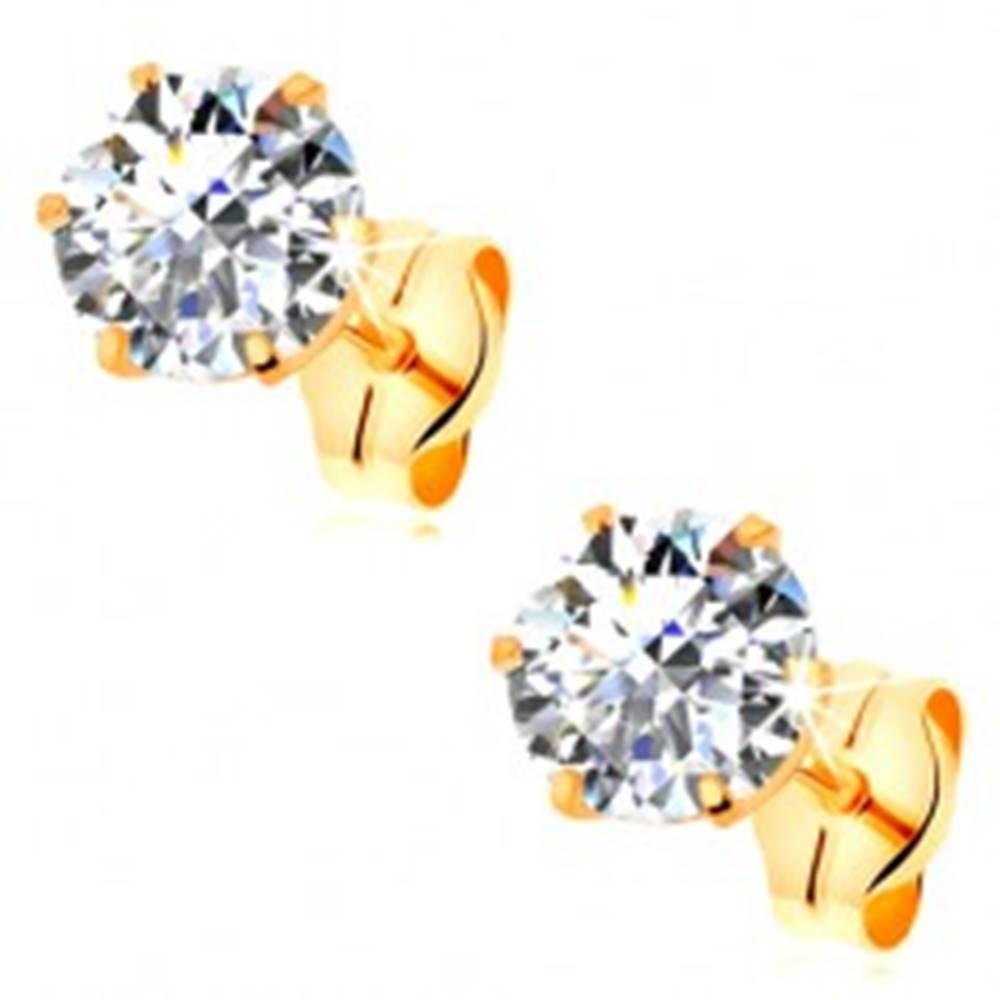 Šperky eshop Náušnice v žltom 14K zlate - číry okrúhly zirkón v kotlíku, 5 mm