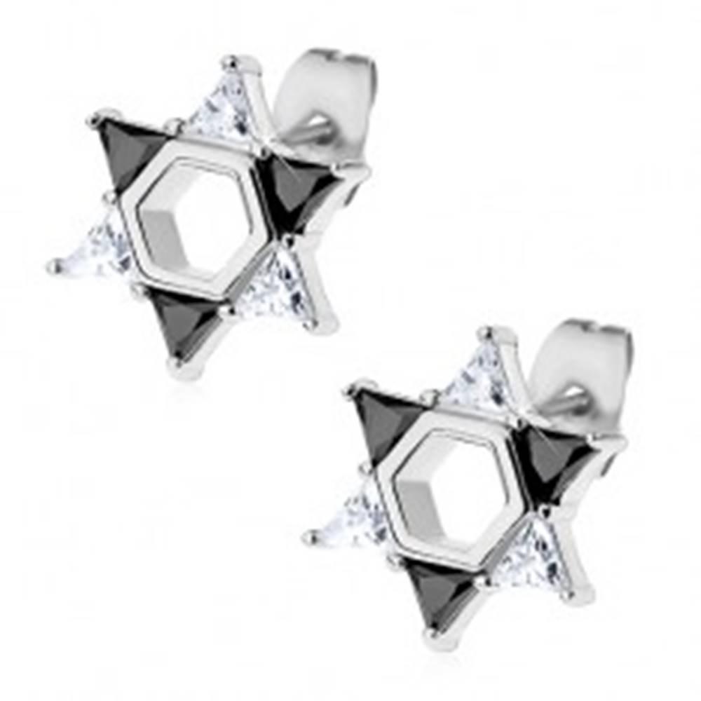Šperky eshop Náušnice z ocele 316L, Dávidova hviezda z čírych a čiernych zirkónov