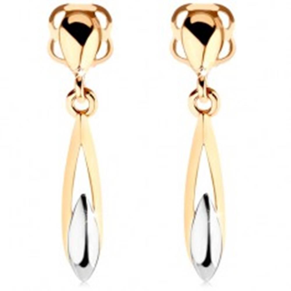 Šperky eshop Náušnice zo 14K zlata - dvojfarebná podlhovastá slza s výrezom
