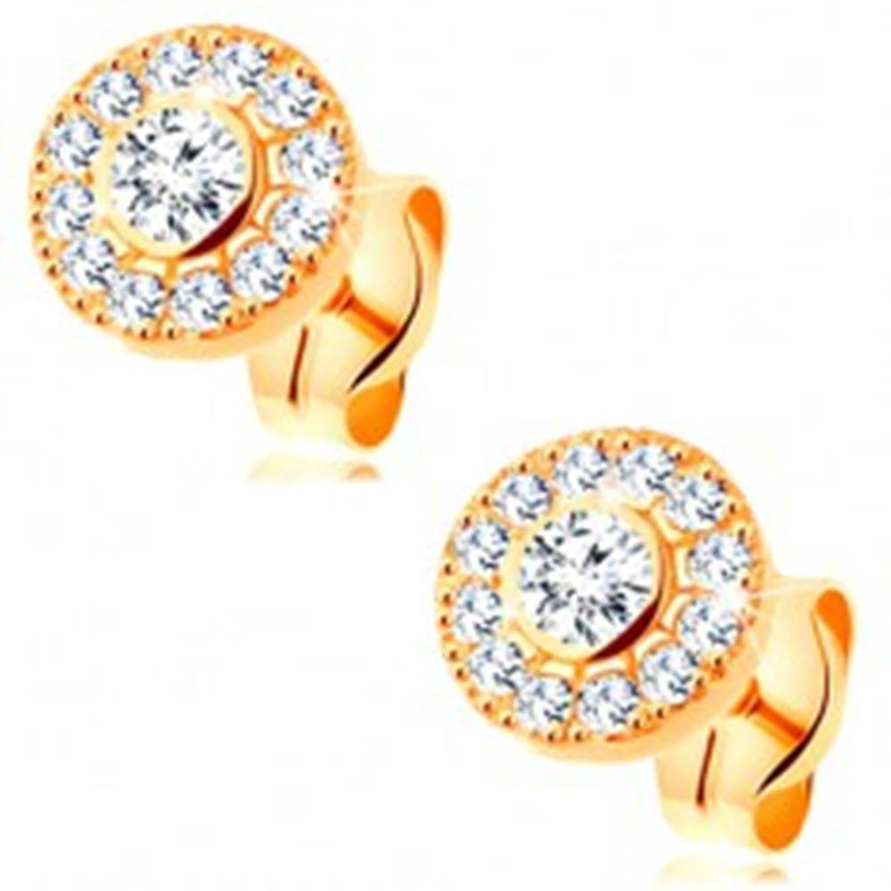 Šperky eshop Náušnice zo žltého 14K zlata - žiarivý kruh z čírych zirkónov, puzetky