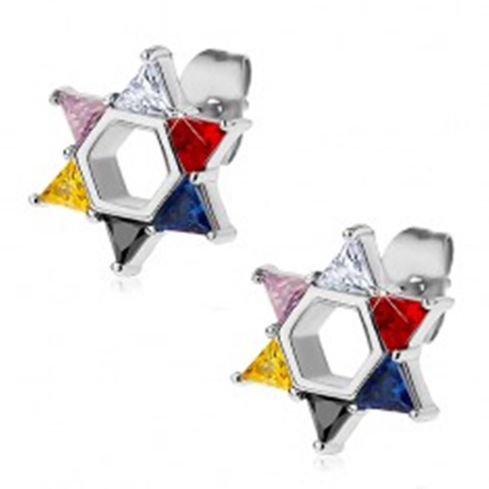 Šperky eshop Oceľové náušnice, Dávidova hviezda z farebných zirkónov