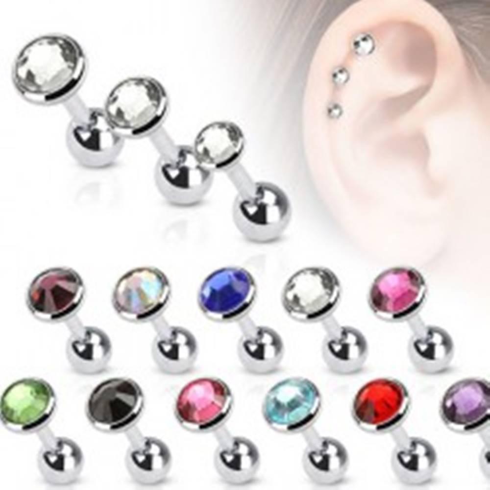 Šperky eshop Oceľový piercing do ucha, farebný zirkón v okrúhlej objímke, 5 mm - Farba zirkónu: Aqua modrá - Q