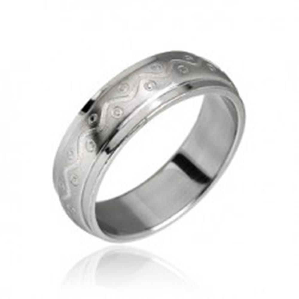 Oceľový prsteň vzor vlnka s...