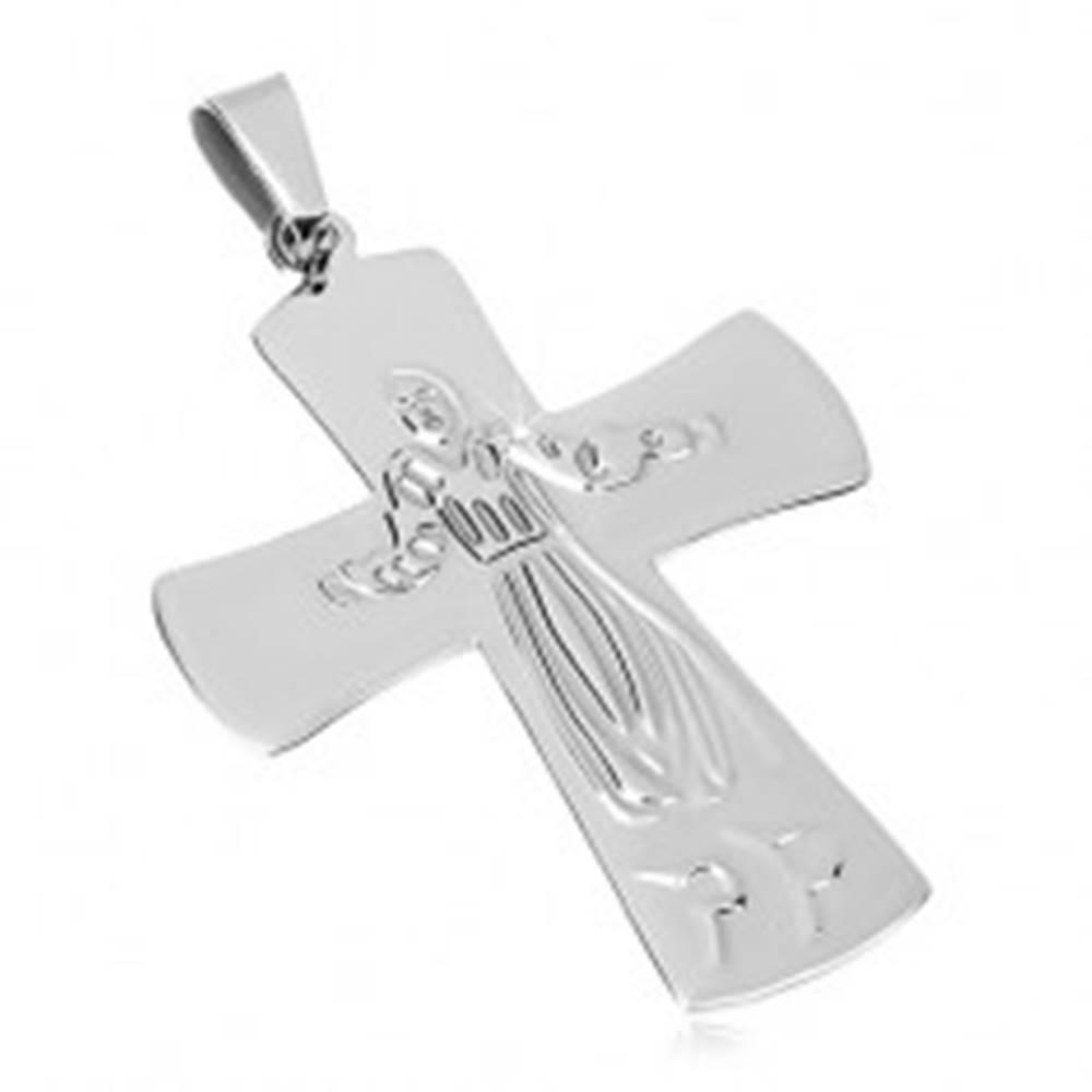 Šperky eshop Prívesok z chirurgickej ocele, Ježiš na kríži, strieborná farba