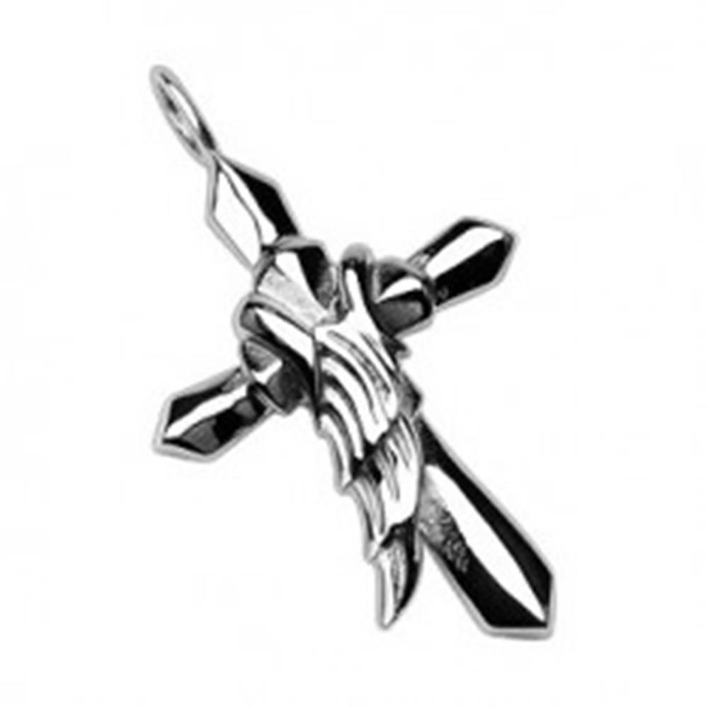 Šperky eshop Prívesok z chirurgickej ocele - kríž s krídlom anjela