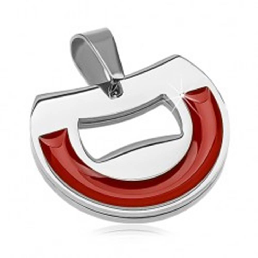 Šperky eshop Prívesok z chirurgickej ocele, polkruh s tehlovo červenou glazúrou