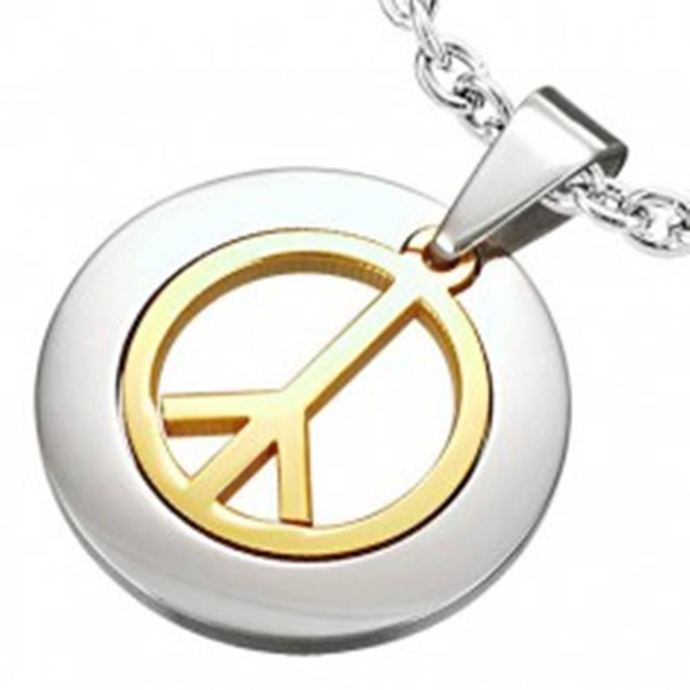 Šperky eshop Prívesok z chirurgickej ocele so znakom mieru zlatej farby