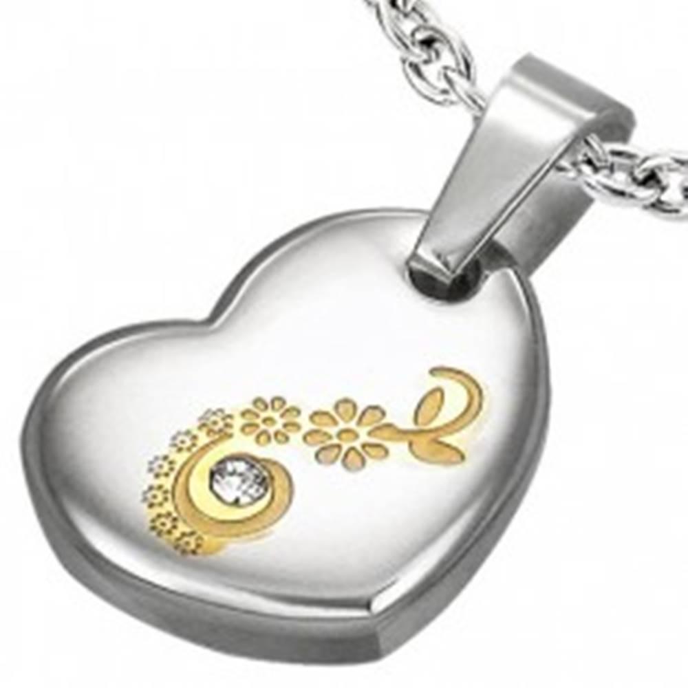 Šperky eshop Prívesok z chirurgickej ocele, srdce s kvietkami a čírym zirkónikom