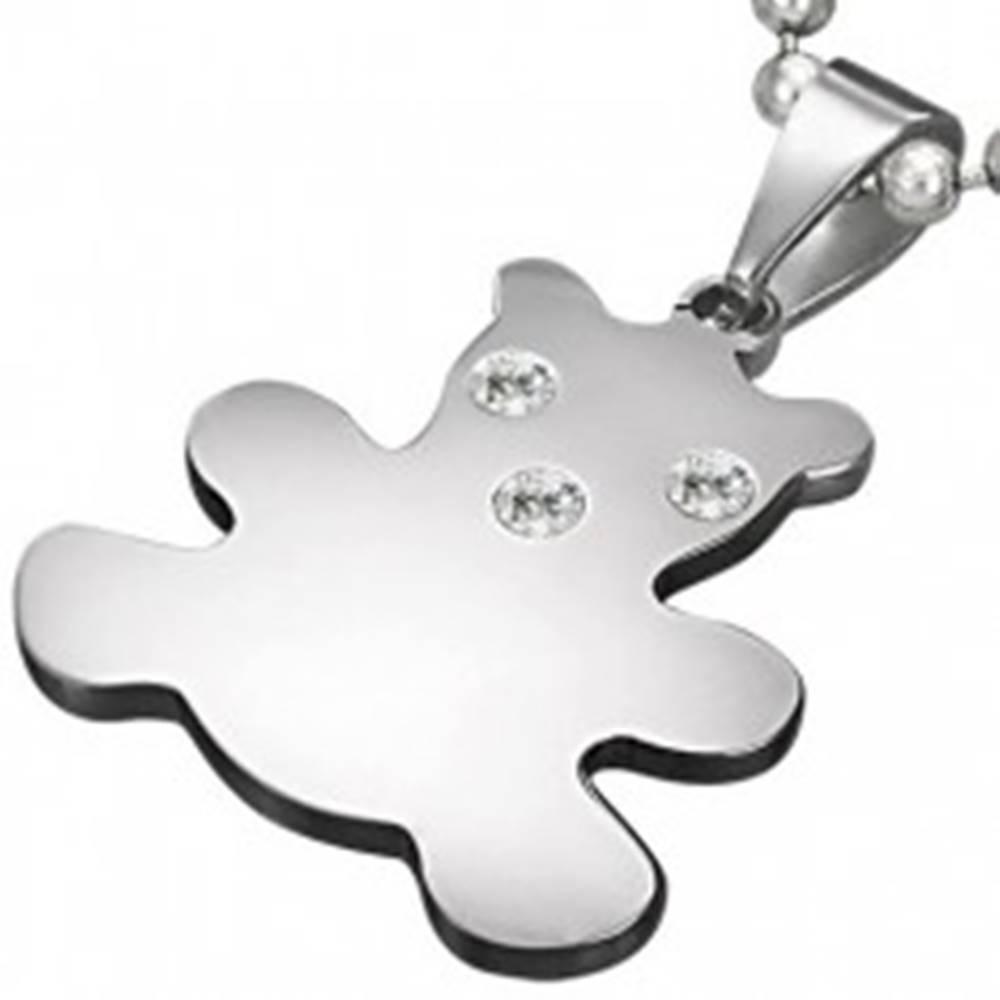 Šperky eshop Prívesok z chirurgickej ocele striebornej farby, medvedík so zirkónmi