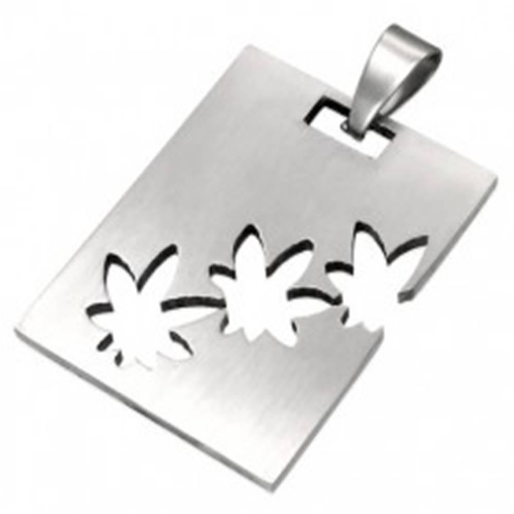 Šperky eshop Prívesok z chirurgickej ocele striebornej farby, obdĺžnik s výrezmi marihuany
