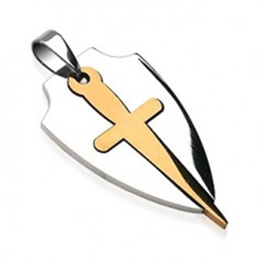 Šperky eshop Prívesok z chirurgickej ocele v dvoch farbách - štít a meč