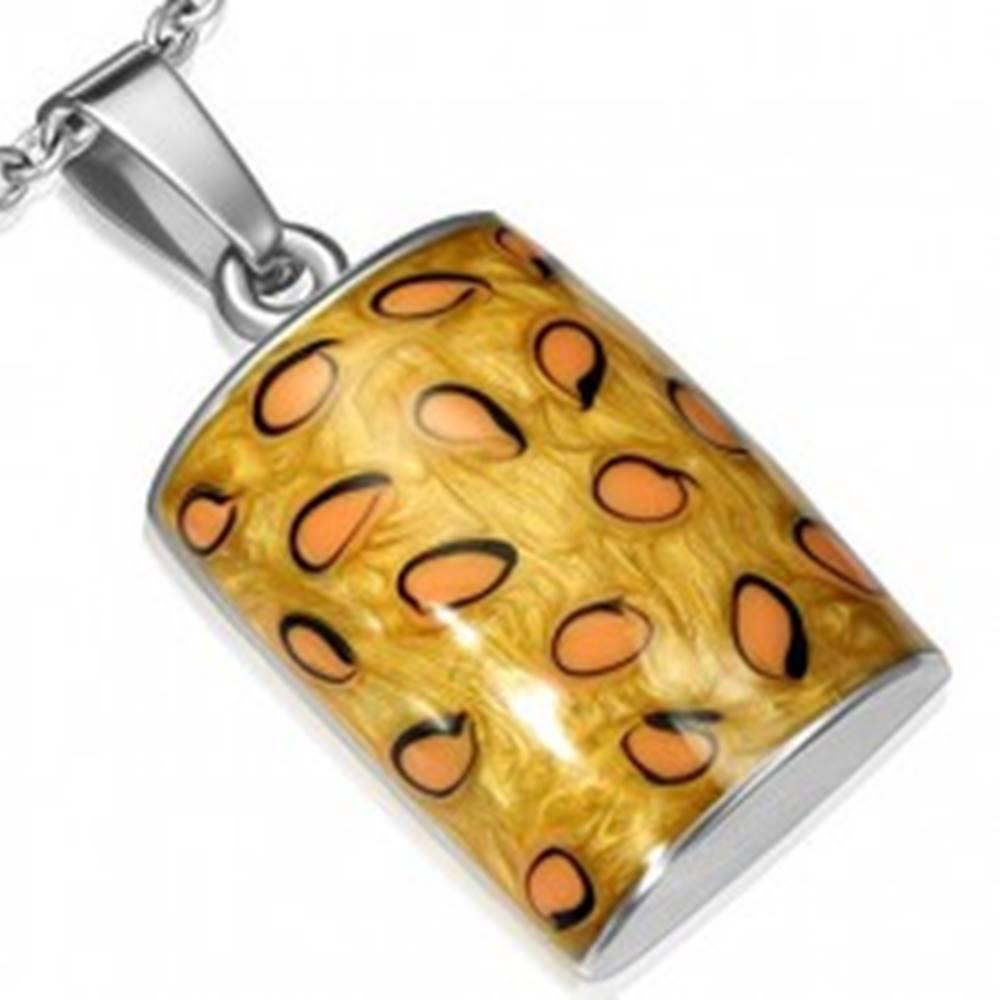 Šperky eshop Prívesok z nehrdzavejúcej ocele - vypuklý obdĺžnik s trojfarebným vzorom