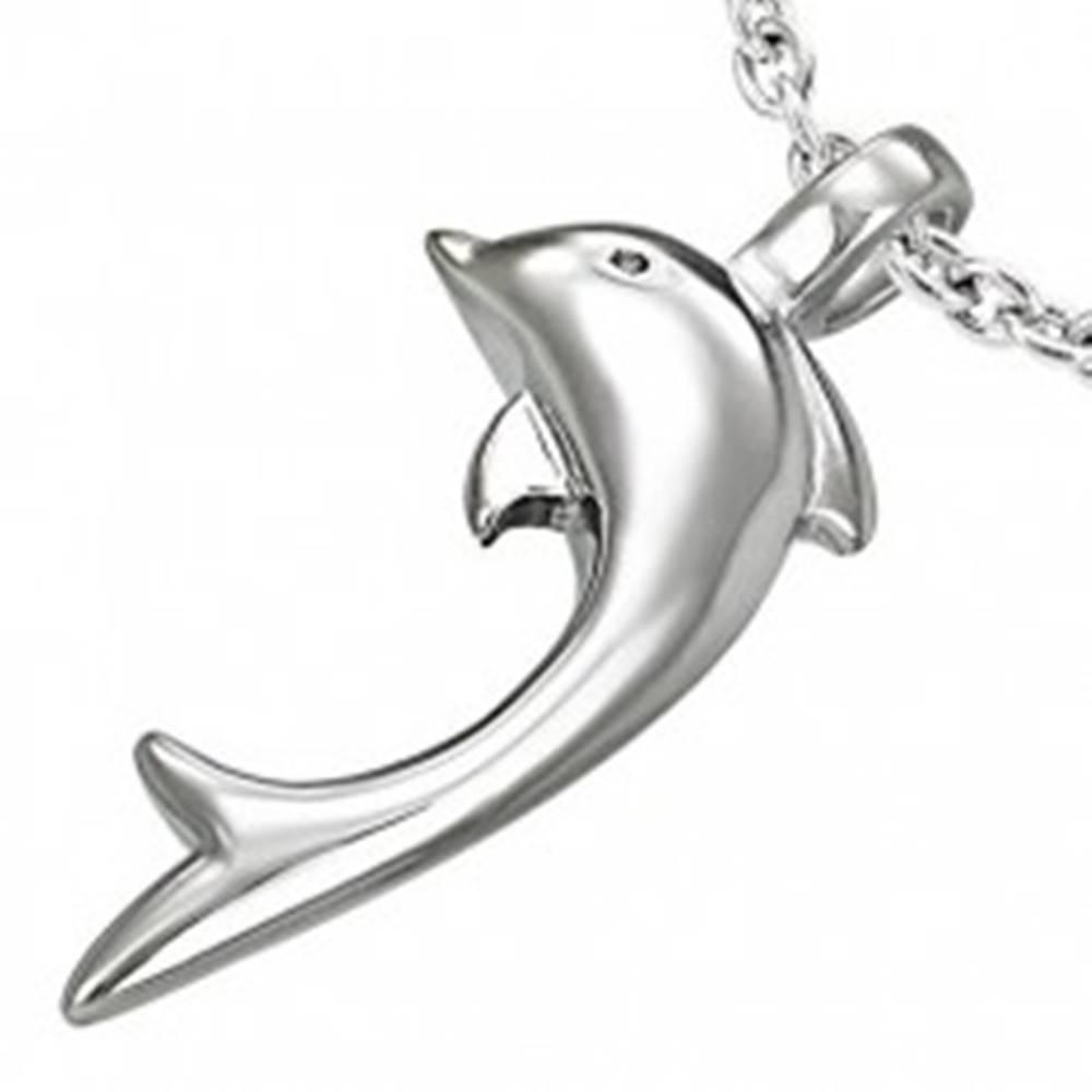 Šperky eshop Prívesok z ocele 316L striebornej farby, lesklý delfín