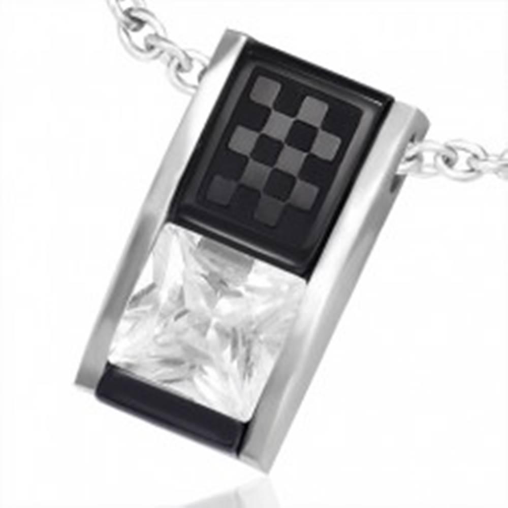 Šperky eshop Prívesok z ocele - dvojfarebná skosená tehlička so zirkónom a šachovnicou