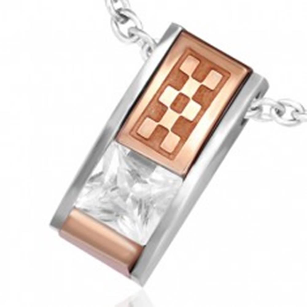 Šperky eshop Prívesok z ocele - skosená tehlička so zirkónom a medenou šachovnicou