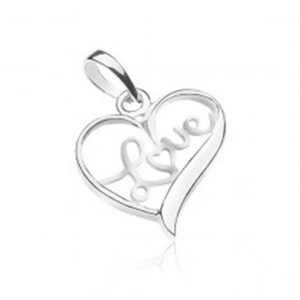 Šperky eshop Prívesok zo striebra 925 - nápis LOVE vo vnútri srdca