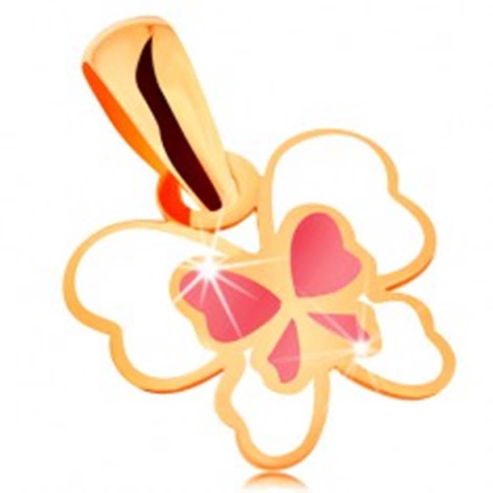 Šperky eshop Prívesok zo žltého 14K zlata, motýľ zdobený bielou a ružovou glazúrou