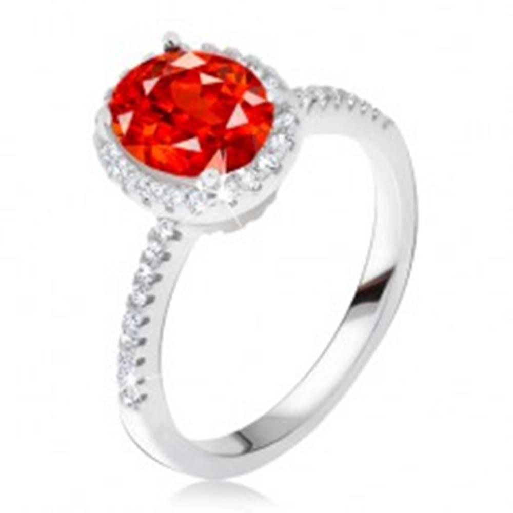 Šperky eshop Prsteň zo striebra 925, vystúpený zirkónový kotlík, červený kameň - Veľkosť: 50 mm
