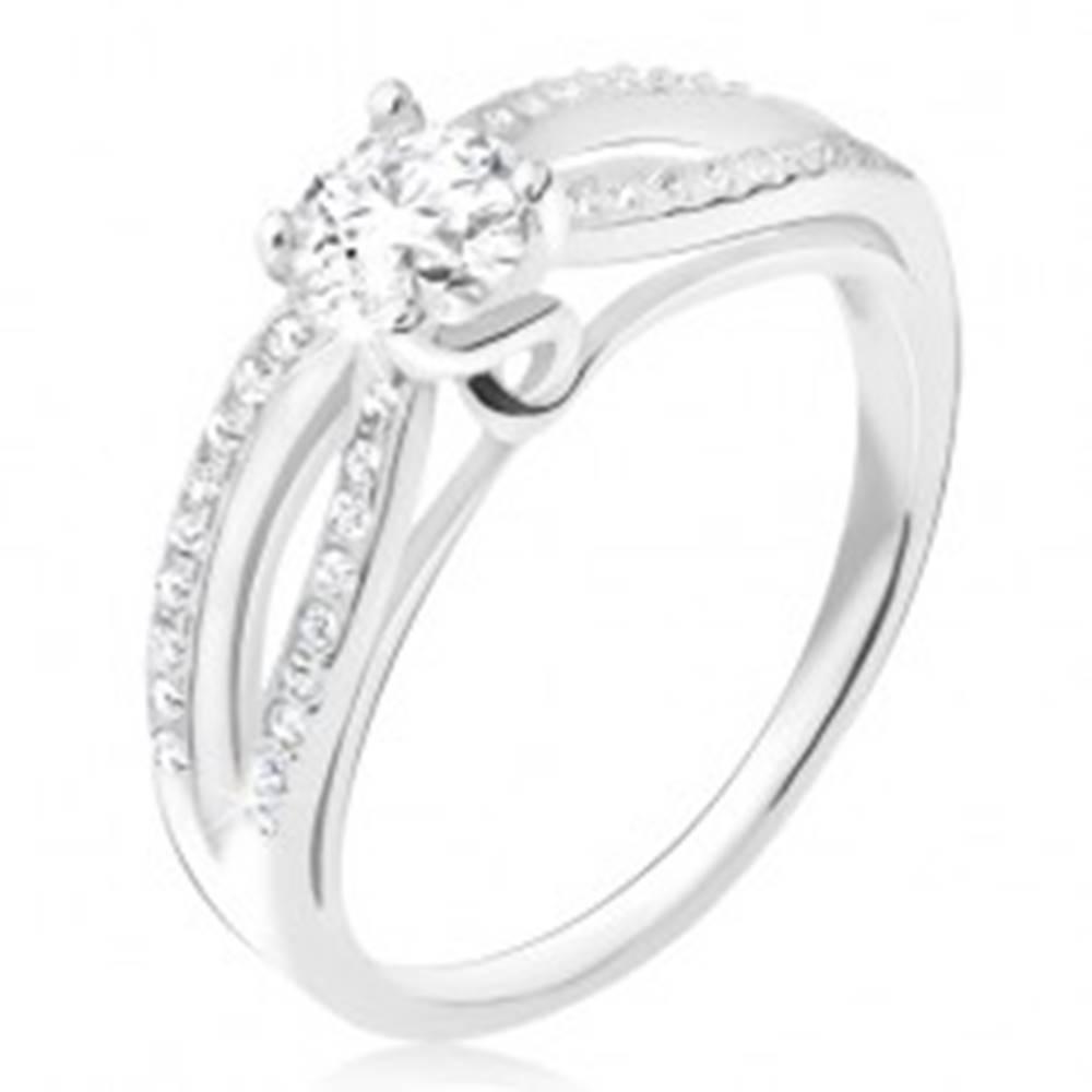 Šperky eshop Prsteň zo striebra 925, zirkónové elipsy, číry okrúhly kamienok - Veľkosť: 48 mm