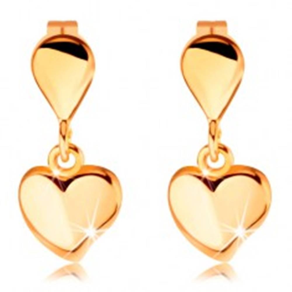 Šperky eshop Puzetové náušnice v žltom 14K zlate - malá kvapka a visiace srdiečko