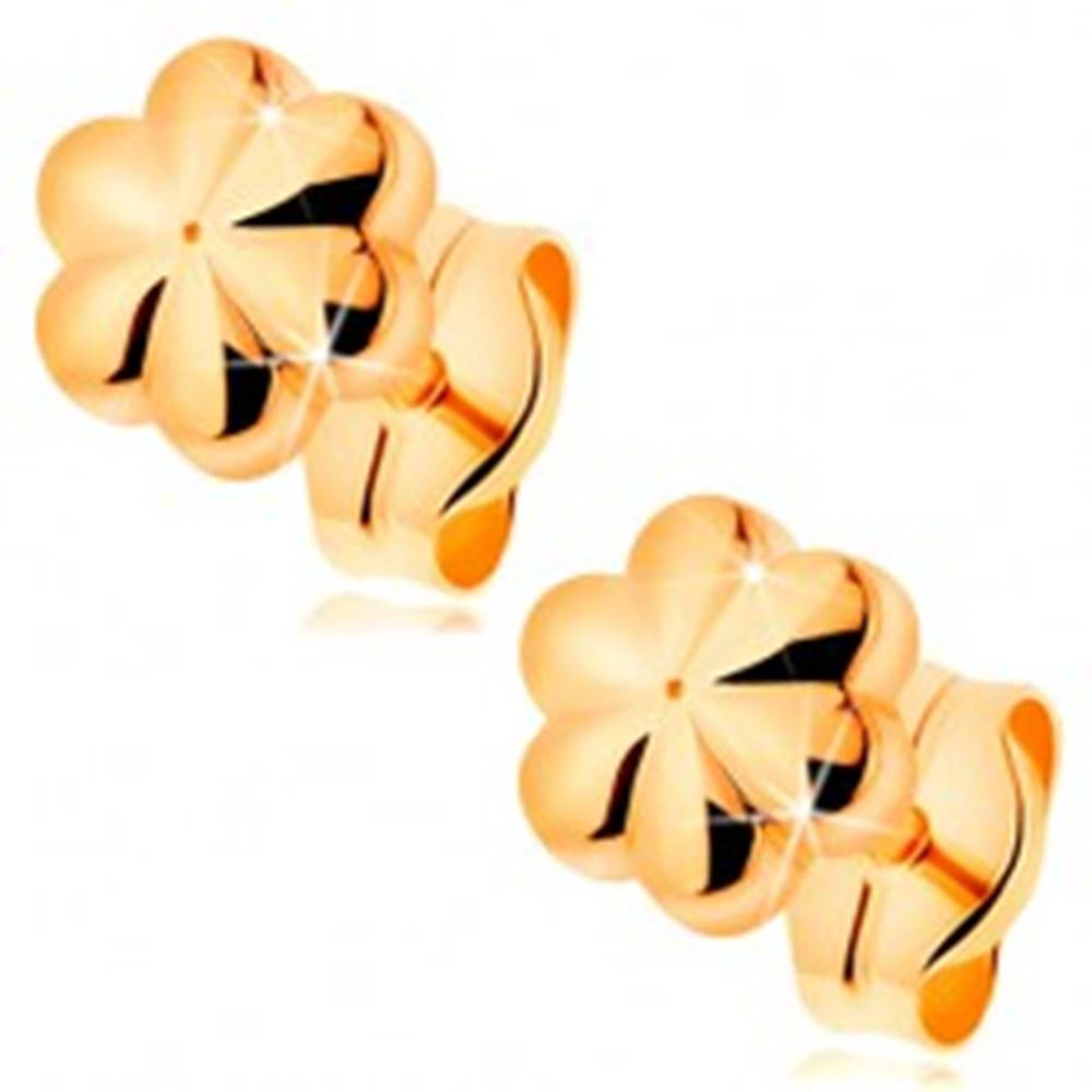 Šperky eshop Puzetové náušnice zo žltého 14K zlata - malý lesklý kvietok so zárezmi