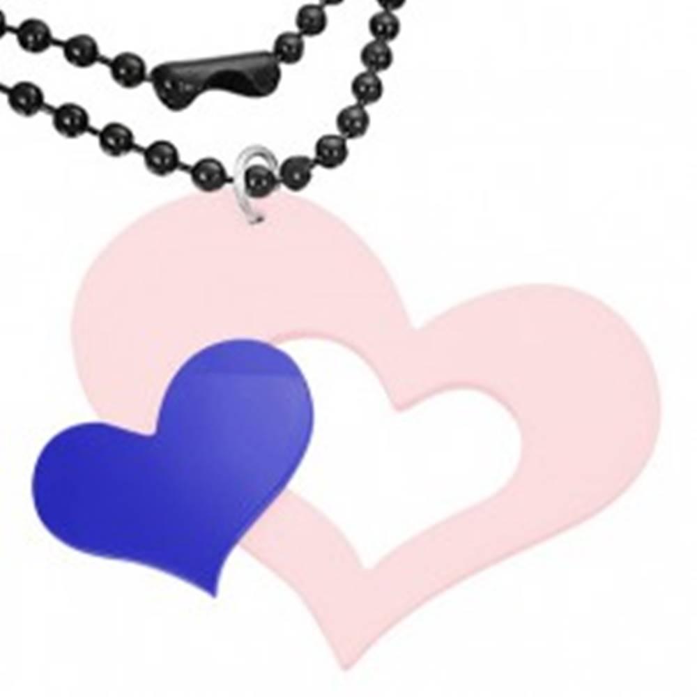 Šperky eshop Ružovo - modrý prívesok z akrylu, veľké a malé srdce