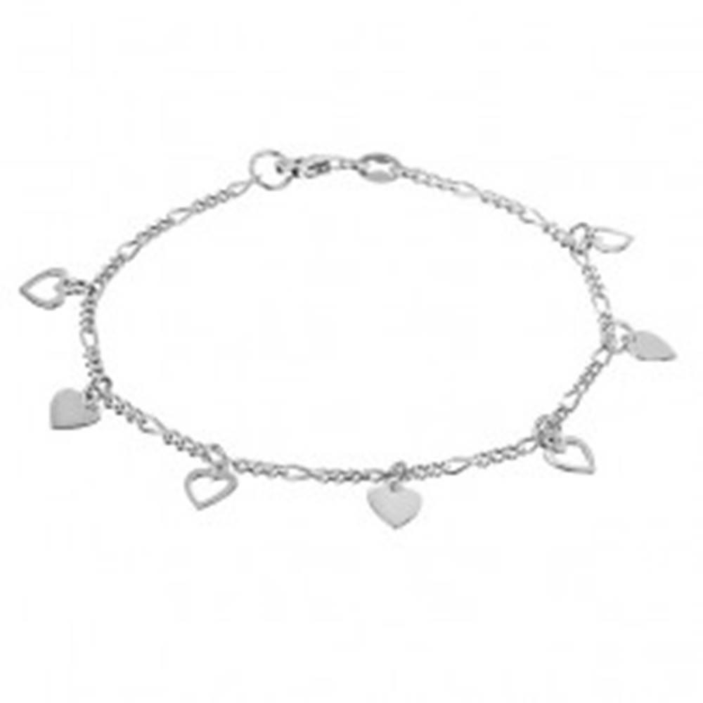 Šperky eshop Strieborná retiazka 925 na ruku s plnými a obrysovými srdciami