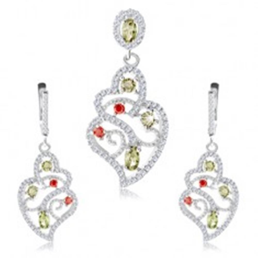 Šperky eshop Strieborná sada 925, prívesok a náušnice, číry ornament, farebné zirkóny