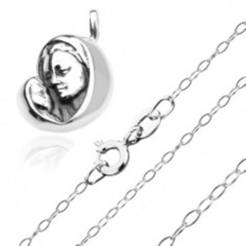 Šperky eshop Strieborný 925 náhrdelník - Madona s dieťatkom na ligotavej retiazke