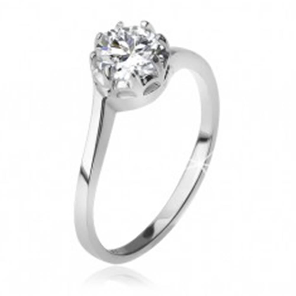 Šperky eshop Strieborný 925 prsteň, číry okrúhly zirkón v kotlíku - Veľkosť: 49 mm