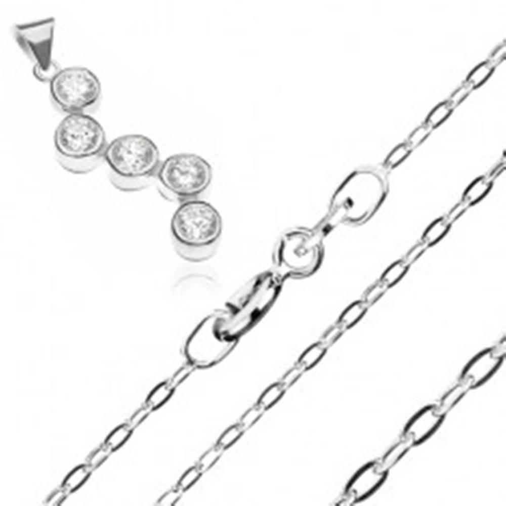 Šperky eshop Strieborný náhrdelník 925 - retiazka a prívesok s cik-cak vzorom zo zirkónov