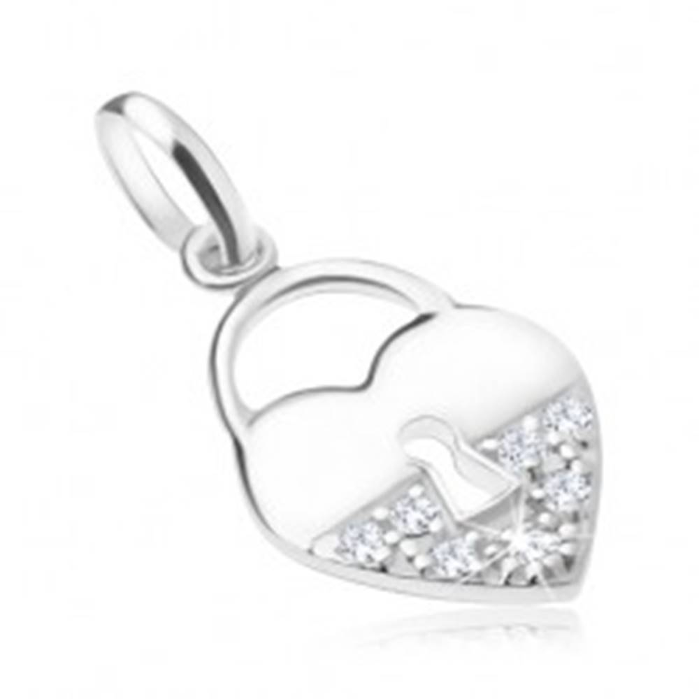 Šperky eshop Strieborný prívesok 925, srdcová zámka - hladká a zirkónová polovica