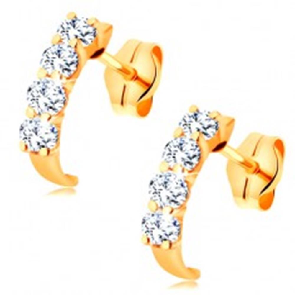 Šperky eshop Zlaté náušnice 585 - malý trblietavý oblúčik z okrúhlych čírych zirkónov
