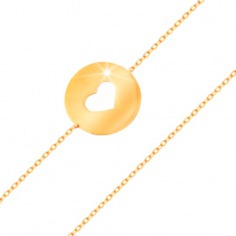 Šperky eshop Zlatý 14K náramok - kruh so srdiečkovým výrezom a plochým lesklým povrchom