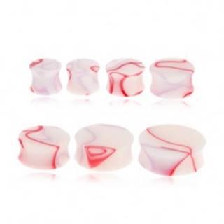 Akrylový sedlový plug do ucha - biely s červeno-fialovým mramorovým motívom - Hrúbka: 11 mm