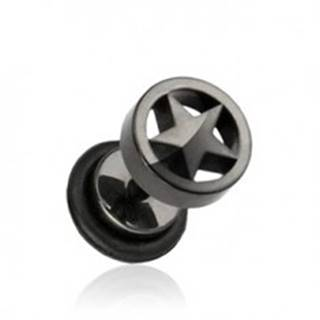 Čierny falošný plug do ucha z ocele, hviezda v kruhu