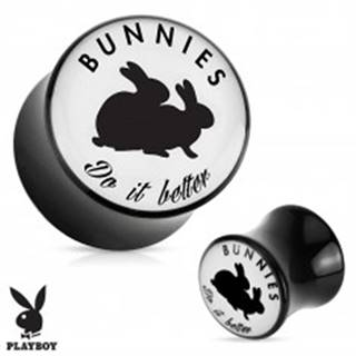 "Čierny sedlový plug do ucha z akrylu "" Bunnies do it better"" - Hrúbka: 10 mm"