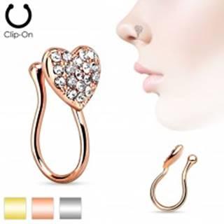 Falošný piercing do nosa z chirurgickej ocele, ligotavé zirkónové srdiečko - Farba: Medená