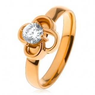 Lesklý oceľový prsteň v zlatom odtieni, obrys kvietka s čírym zirkónom - Veľkosť: 49 mm