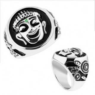 Masívny prsteň, oceľ 316L, strieborná farba, čierna glazúra, usmiaty Budha - Veľkosť: 59 mm