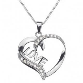 Náhrdelník zo striebra 925 - línia srdca s nápisom LOVE