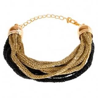 Náramok, mäkké pletené vlákna, zlatý a čierny odtieň, karabínka