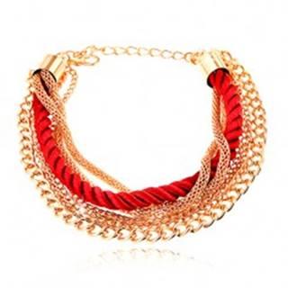 Náramok, pletená červená šnúrka, retiazky zlatej farby, karabínka