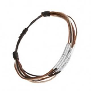 Náramok zo šnúrok čiernej, hnedej, škoricovej a béžovej farby, pásiky z ocele