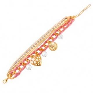 Nastaviteľný náramok, ružová stužka, retiazky, korálky, minca, karabínka